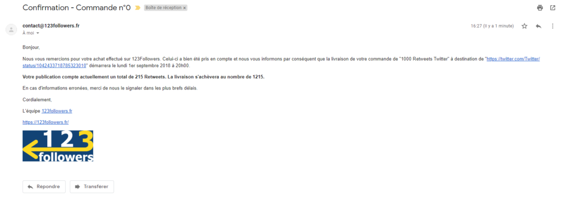Mail de Confirmation de Commande 123Followers
